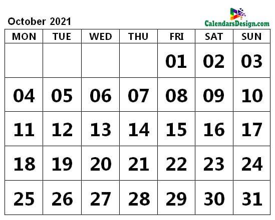 Print October 2021 Calendar in Page Format