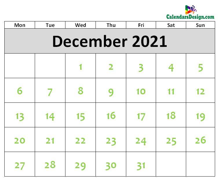 Printable Blank 2021 December Calendar Excel