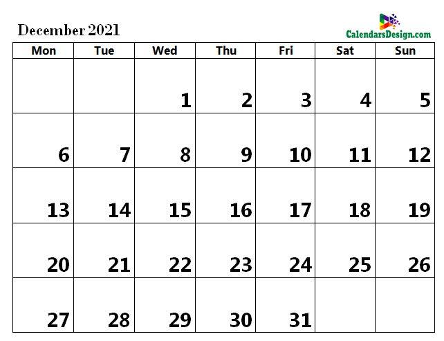 Printable Calendar for December 2021 Word