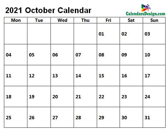 Printable Calendar for October 2021 Page