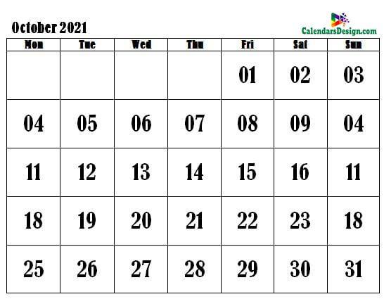Printable Calendar for October 2021 Word