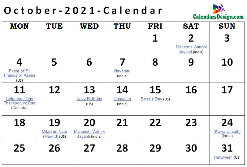 Printable October 2021 Holidays With Notes