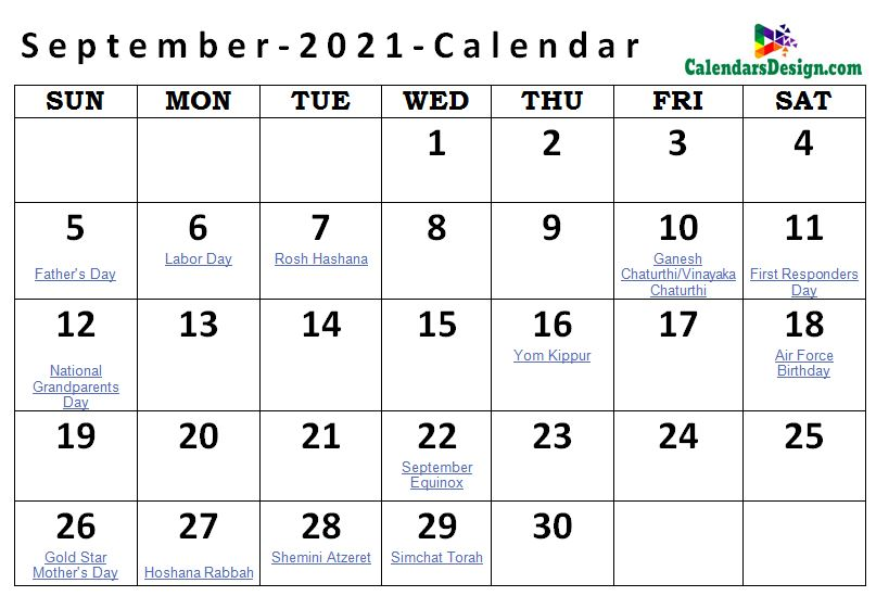 Printable September 2021 Holidays With Notes