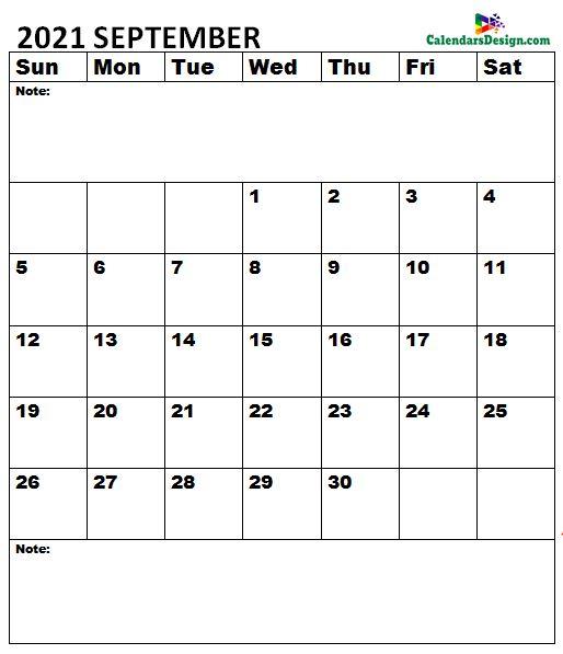 September 2021 Calendar A4 Size