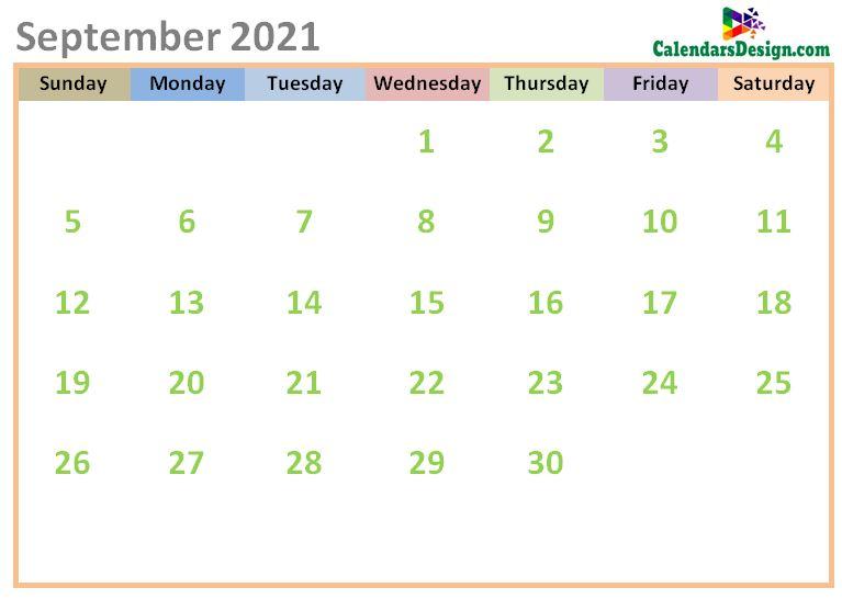 September 2021 Calendar Cute Designs