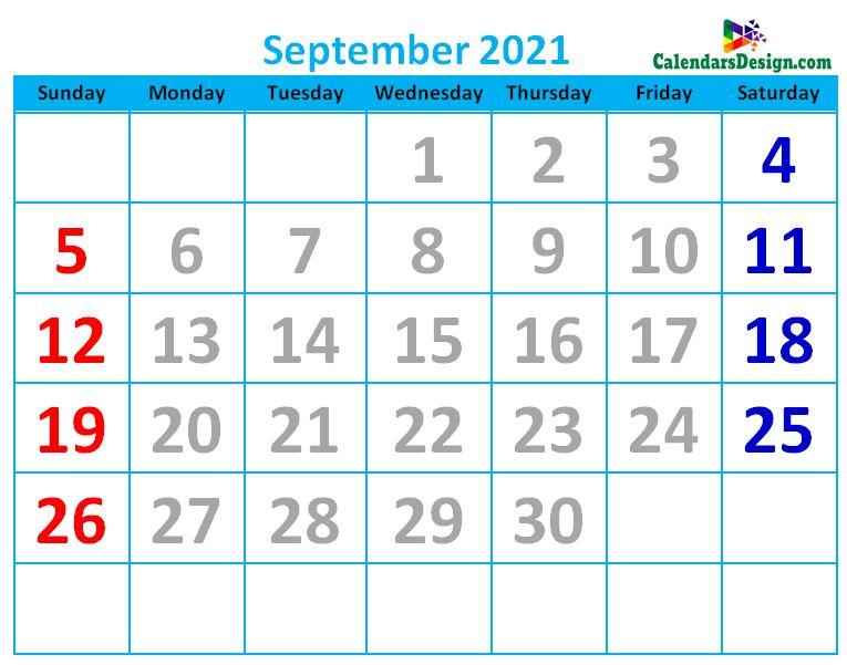 September 2021 Calendar Cute
