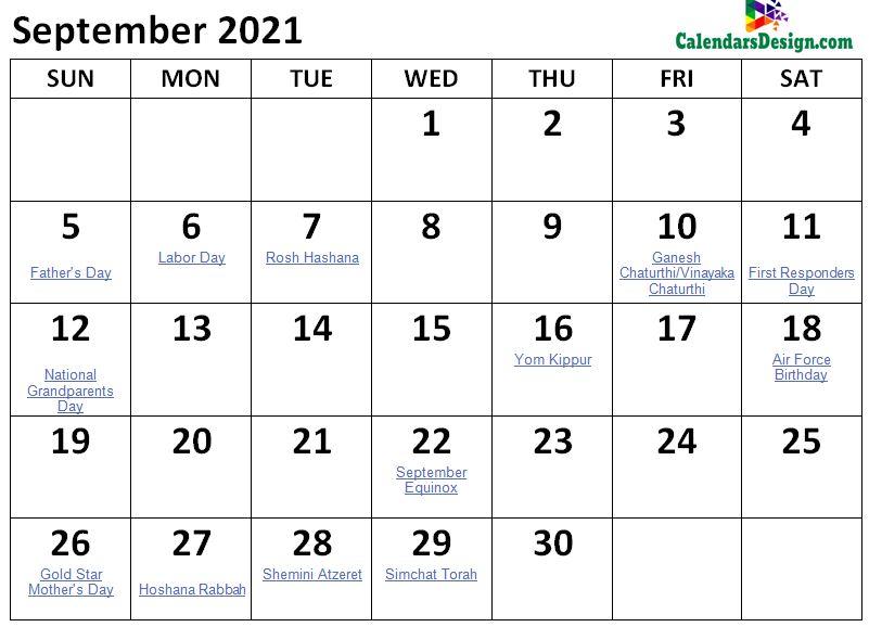 September 2021 Calendar Holidays