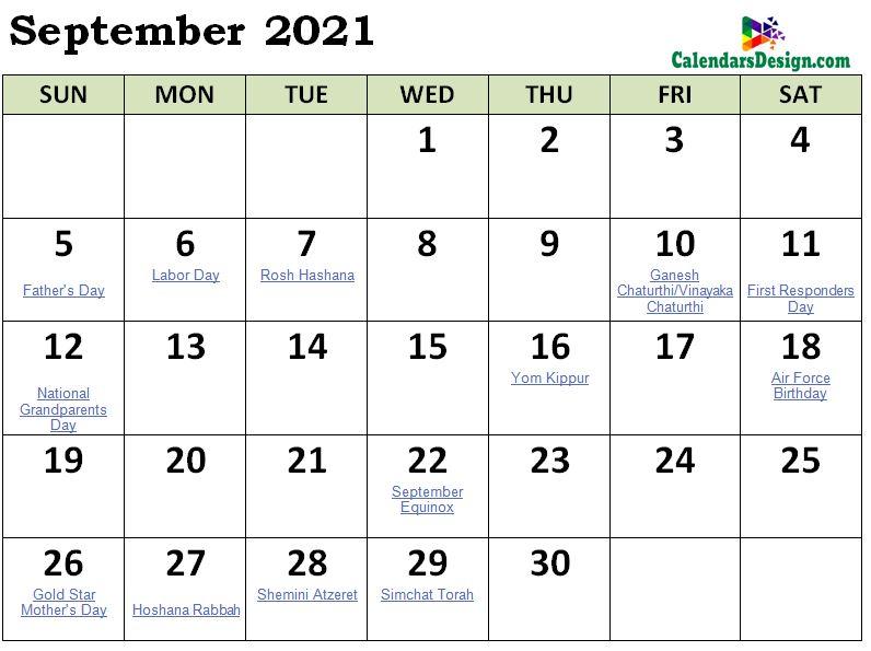 September 2021 Calendar NZ With Holidays
