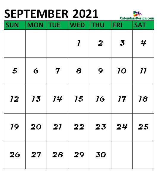 September 2021 Calendar Portrait