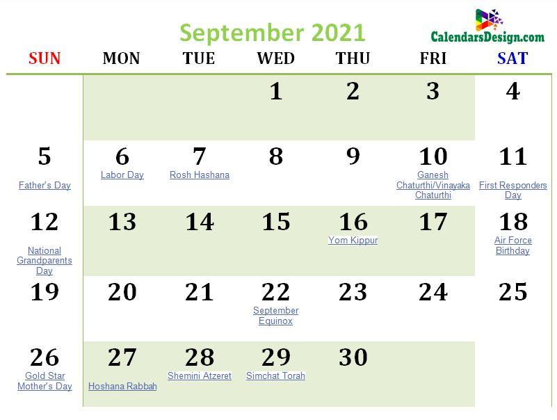 September 2021 Calendar USA With Holidays