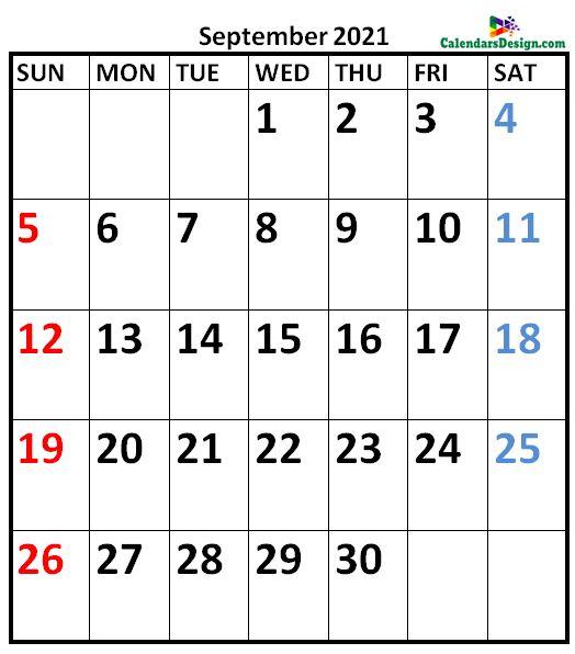 September 2021 Calendar Vertical