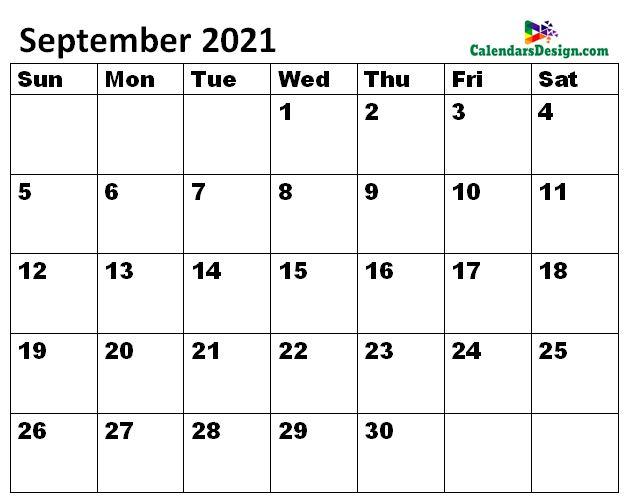 September 2021 Calendar letter