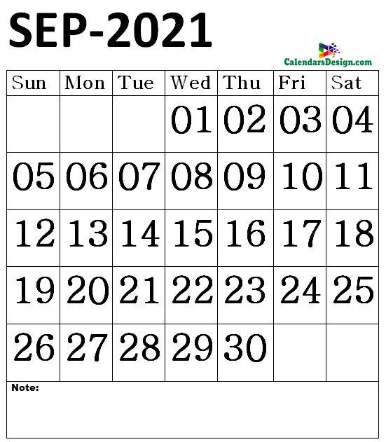 September 2021 Calendar notes
