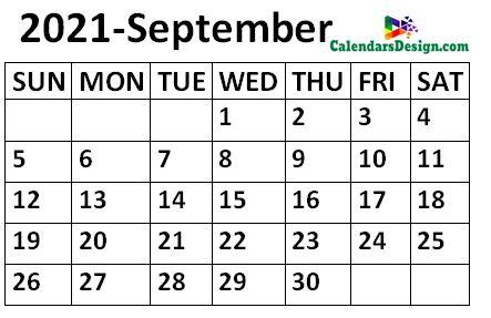 September 2021 Calendar small size