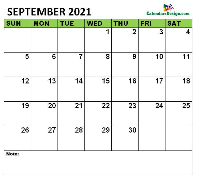 September 2021 Calendar to edit