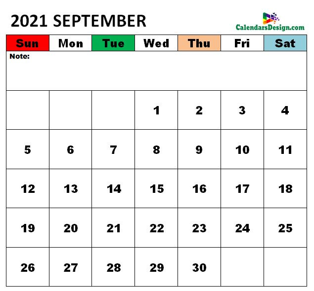 September 2021 Calendar vertex