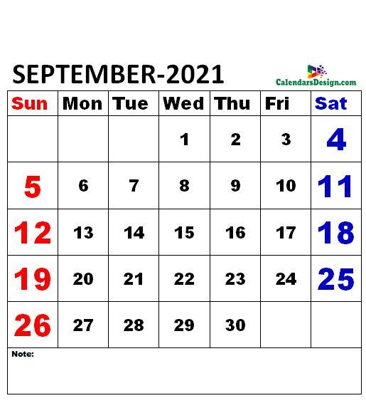 September 2021 Calendar xls