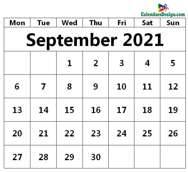 September 2021 Printable Blank Calendar