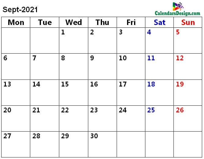 September 2021 a4 calendar