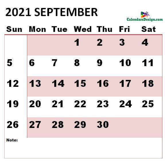 September 2021 calendar large size
