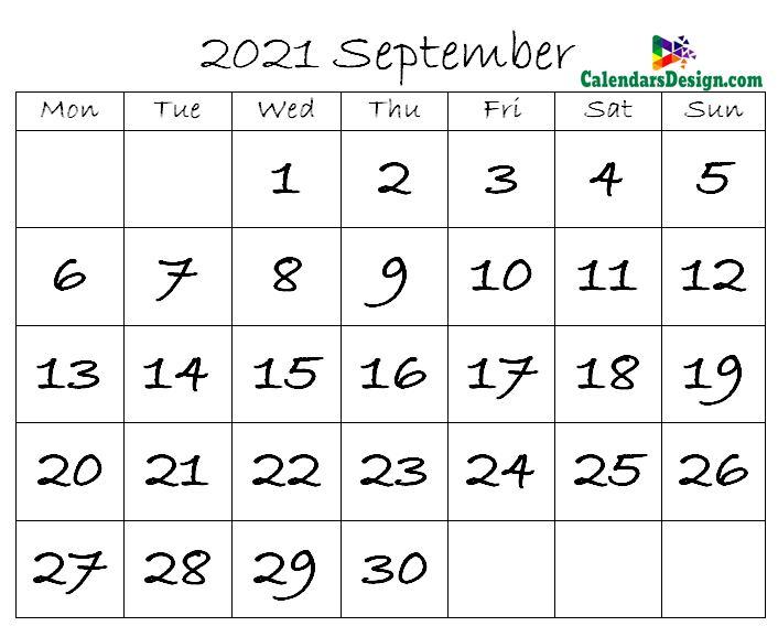 September 2021 calendar template in excel