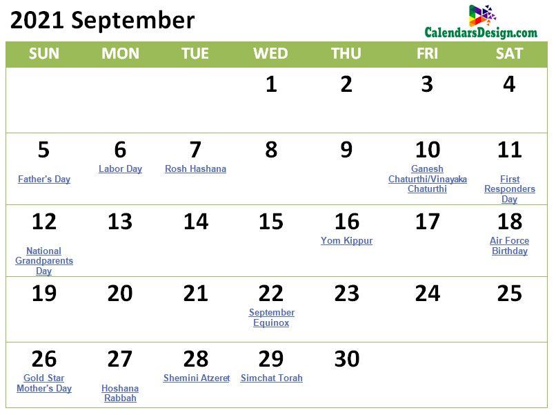 September 2021 calendar with holidays