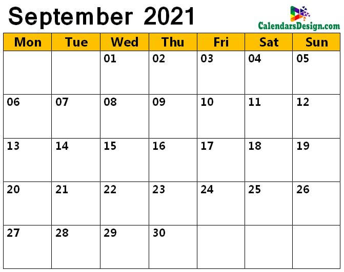 September 2021 calendar with large space