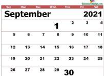 September 2021 excel calendar template