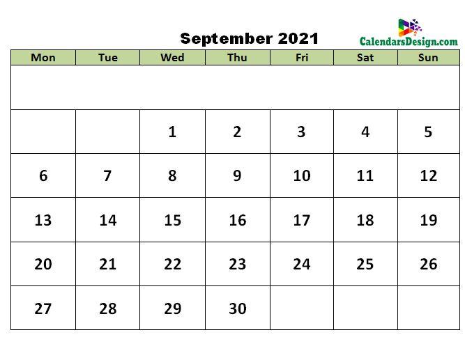 September 2021 excel calendar