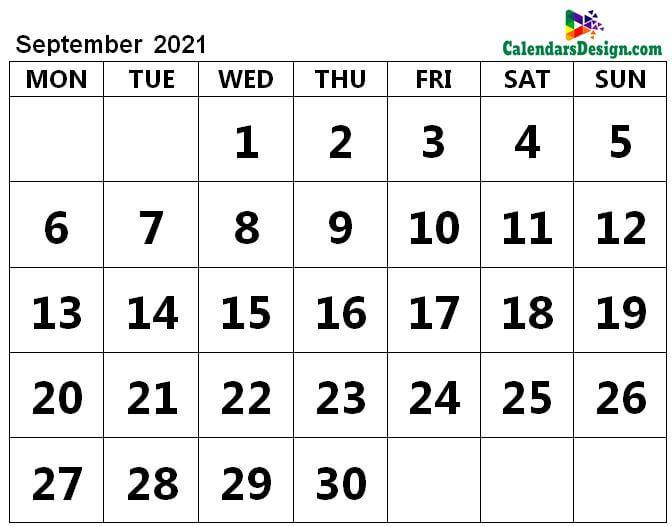 September 2021 page calendar
