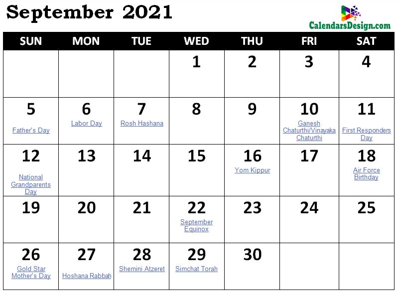 September Calendar 2021 Holidays