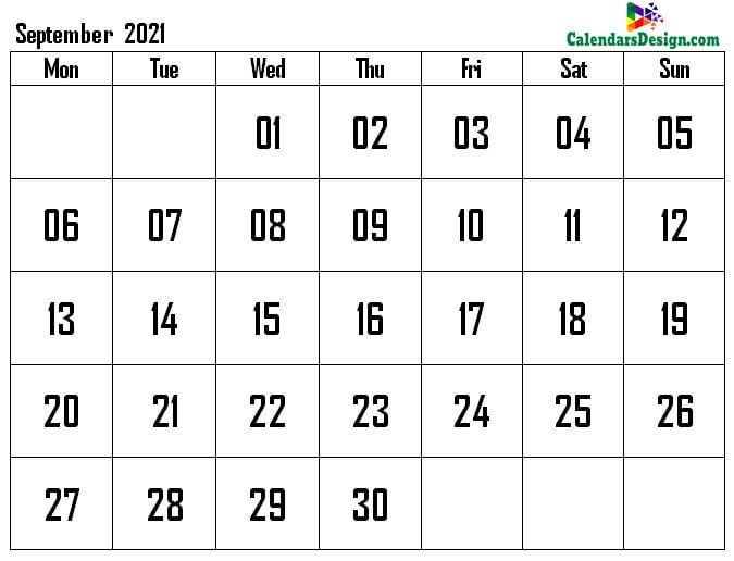 September calendar 2021 a4 page