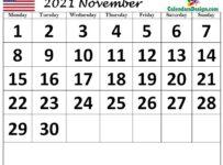 USA November 2021 calendar