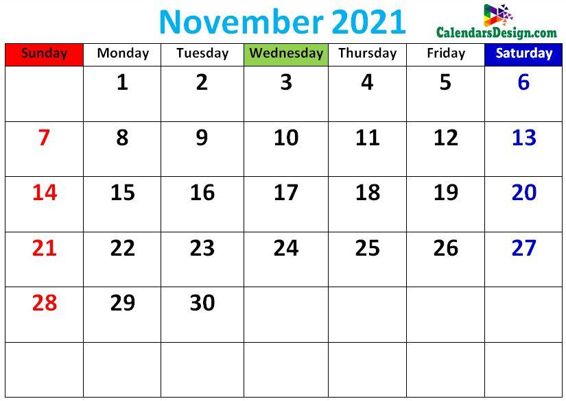 cute November 2021 calendars