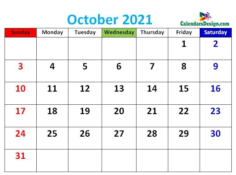 cute October 2021 calendars