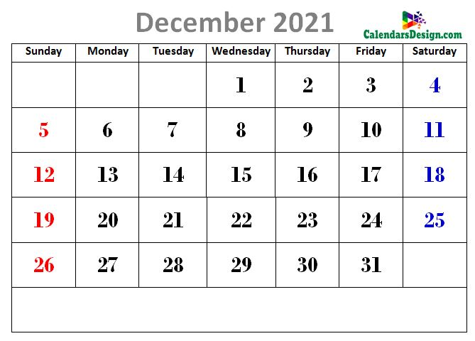 latest December 2021 cute calendar