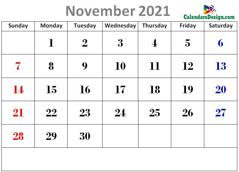 latest November 2021 cute calendar