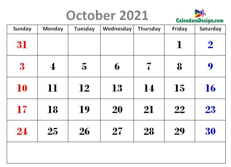 latest October 2021 cute calendar