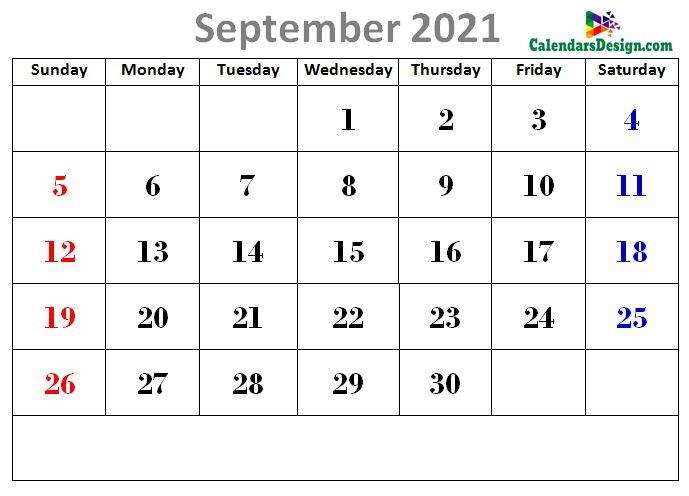 latest September 2021 cute calendar