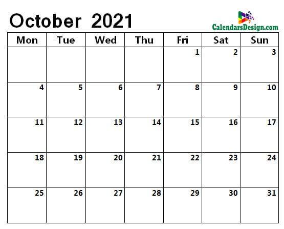 monthly October 2021 blank calendar