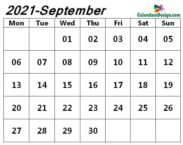 monthly September 2021 blank calendar
