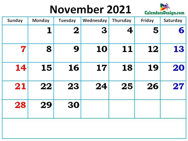 new cute November month calendar designs
