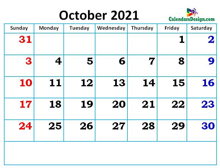 new cute October month calendar designs