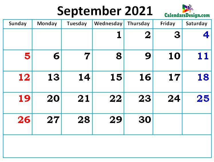 new cute September month calendar designs