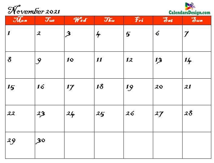 pdf calendar for November month