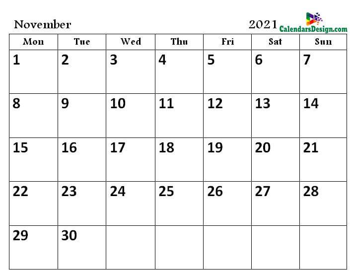 print November 2021 calendar in pdf