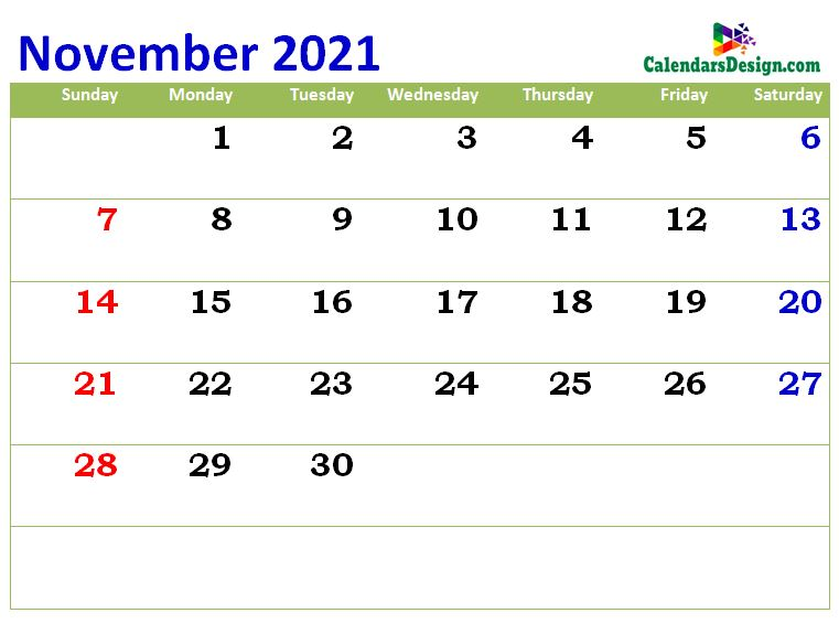 print cute Nov 2021 calendar