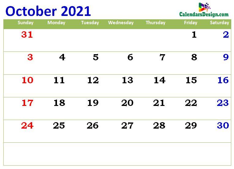 print cute Oct 2021 calendar