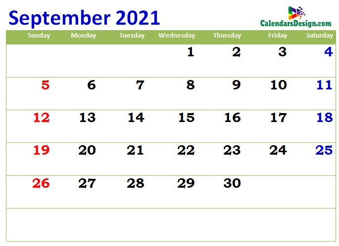 print cute sept 2021 calendar