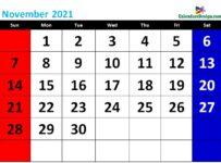 printable November calendar 2021 cute